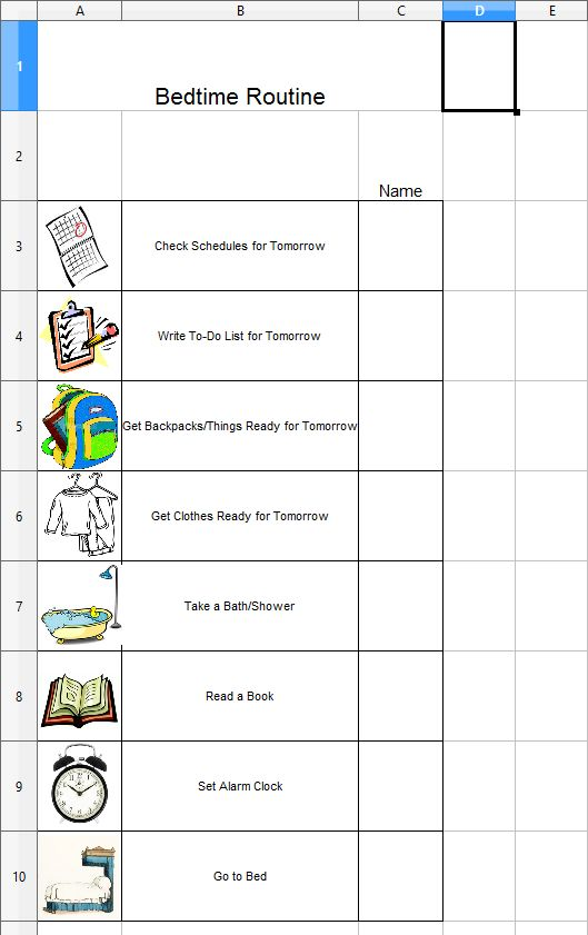 daily schedule chart template - Amitdhull - daily routine chart template