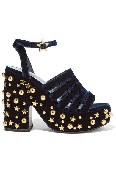 Heel measures approximately 130mm/ 5 inches with a 50mm/ 2 inches platform Midnight-blue velvet Buckle-fastening ankle strapSmall to size. See Size & Fit notes.As seen in The EDIT magazine
