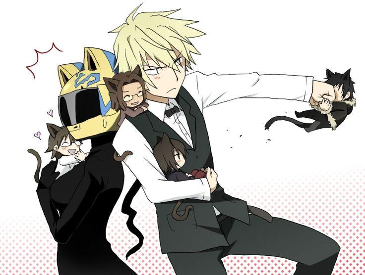 Shinra, Celty, Tanaka, Shizuo, and Izaya. ~ DRRR!!