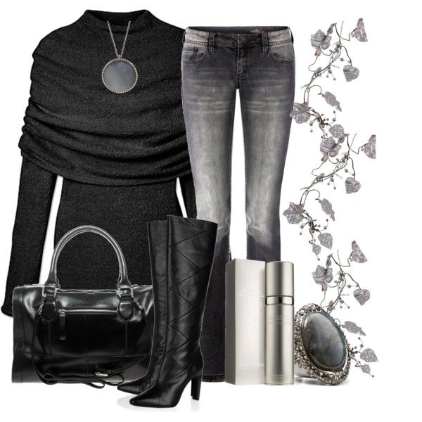 Classy Outfit: Outfits, Fashion, Clothes, Personal Style, Black Outfit, Styles, Fall Winter, Style Black Silver