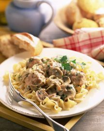 Beef StroganoffIngredients: •2 Tbsp. butter •1/2 cup diced onions •8 oz. sliced mushrooms •2 Tbsp. flour •1-1/2 cups beef broth •1 10.75 oz. can condensed cream of mushroom soup •2 Tbsp. sour cream •kosher salt and freshly-ground black pepper, to taste •2 cups shredded cooked leftover roast beef, pot roast, beef brisket or deli roast beef