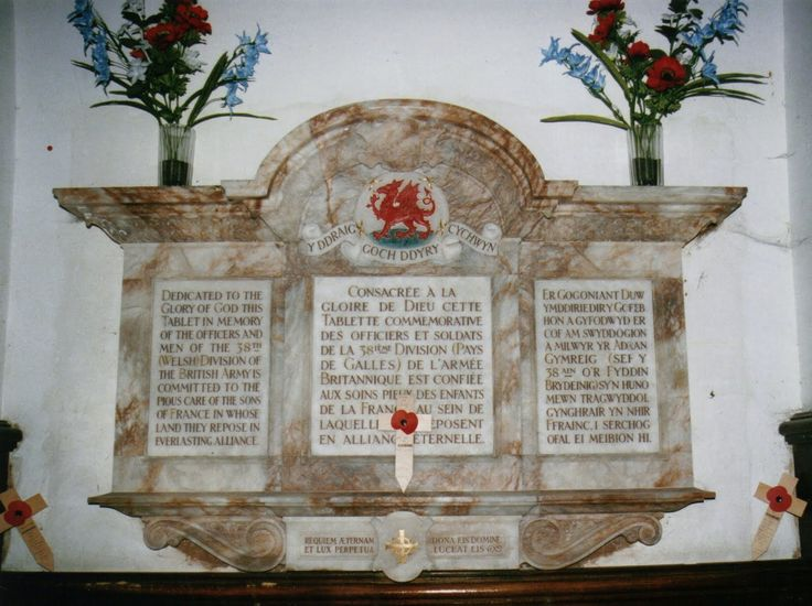38th (Welsh) Division Memorial Mametz Church, Mametz France.