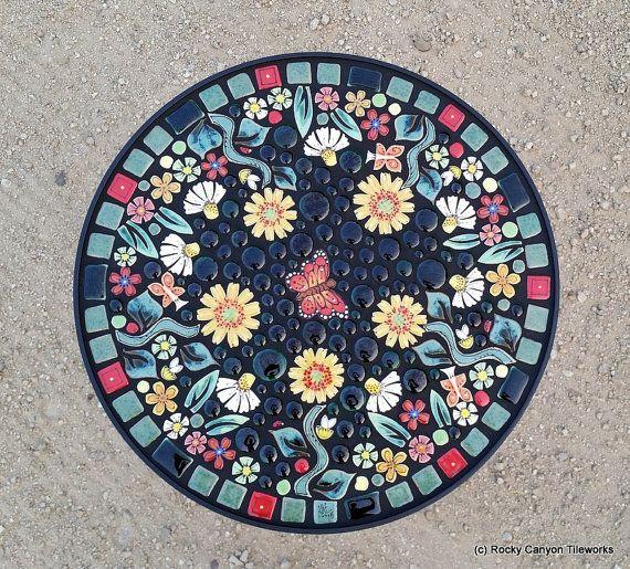 18 round garden mosaic tile table. Handmade ceramic
