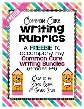 By request, I have created Common Core Writing Rubrics based specifically on the language used in the Common Core Standards to assess the students in their writing.  I have included a rubric for each grade level (Grades 1-4) in each of the 3 types of Common Core Writing: Opinion, Informative/Explanatory, and Narrative Writing.