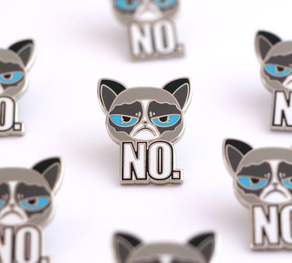 Grumpy cat lapel pin animal pins cute animal by CompocoPop on Etsy