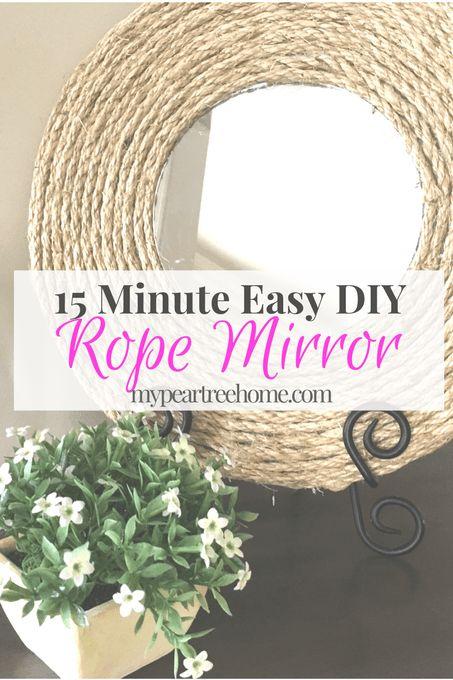 Rope Mirror, Mirror, DIY, Rope Mirror DIY, 15 minute DIY, $5 craft, farmhouse, beach decor
