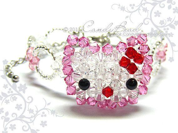 Dolce gattino rosa scintillanti Swarovski bracciale di candybead