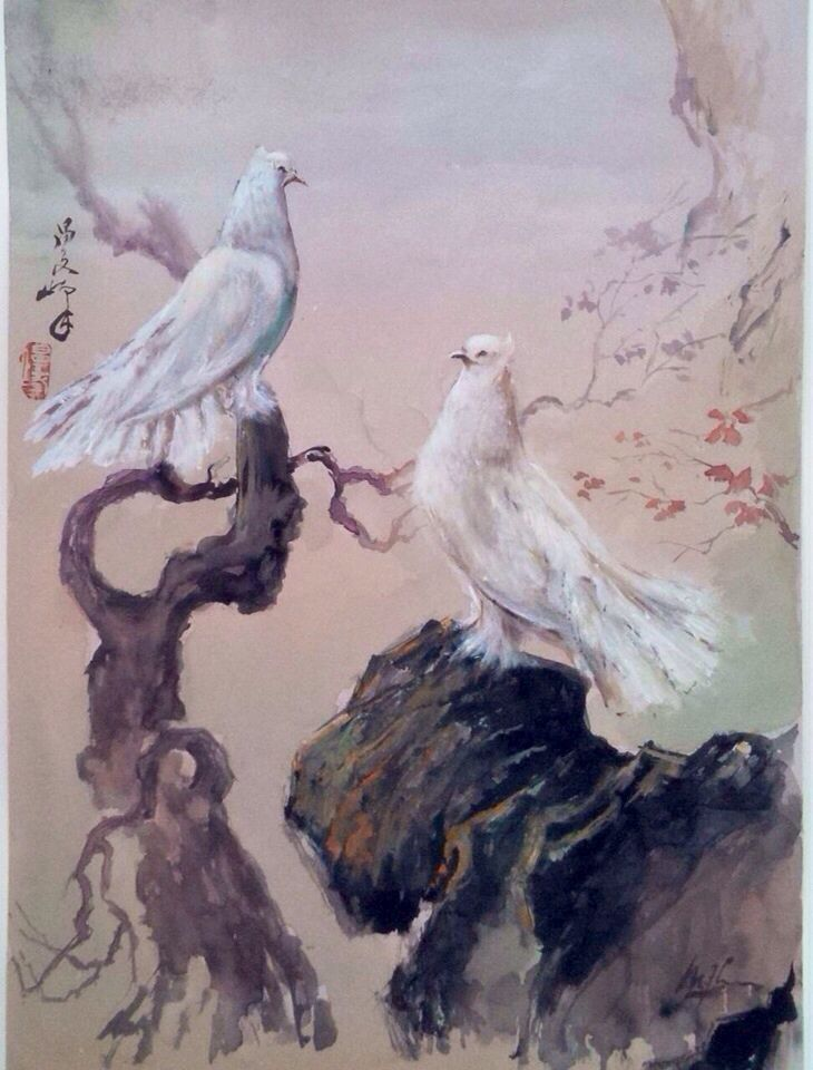 2 Doves by Lee Man Fong