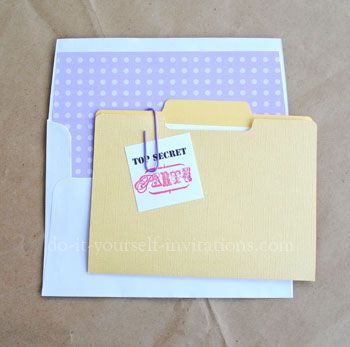 "Surprise Party ""Top Secret"" Invite. This site has the template for the envelope!"