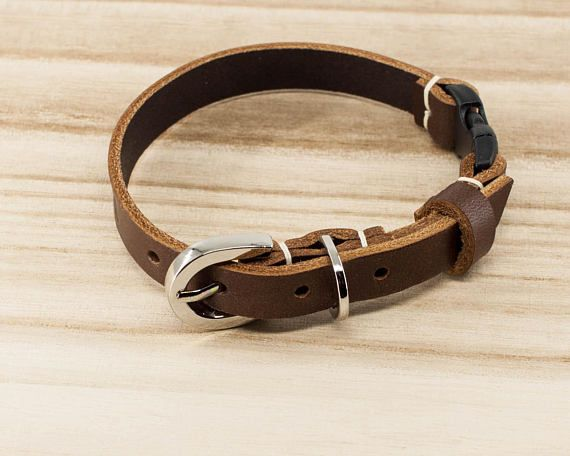 Leather Cat Collar  Cat Collars   safety breakaway buckle