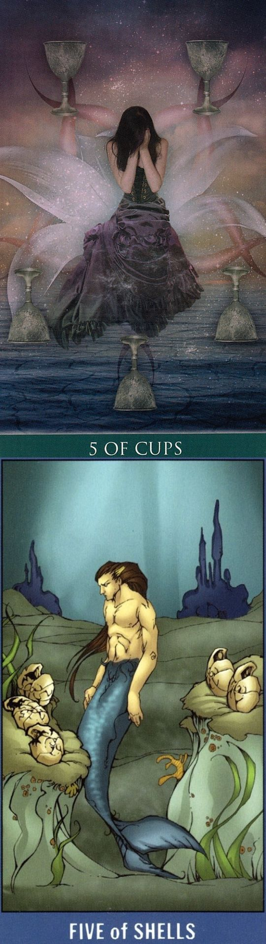 Five of Cups: loss and acceptance (reverse). Thelema Tarot deck and Undersea Tarot deck: free online tarot card reading lotus, tarot en espanol and tarot del fuego. Best 2017 tarot reading tips and magic mirror. #tarotart #spell #gothwitch