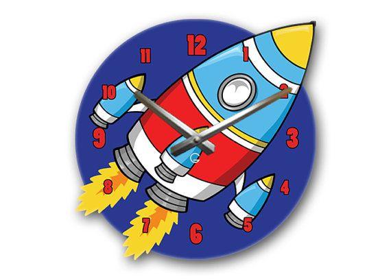 Wall Clock Kids Rocket by Glozis on Etsy