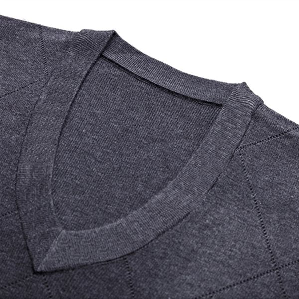 Autumn Winter Men's Casual V-neck Warm Knit Pullovers Fashion Long Sleeve Sweater Pullovers