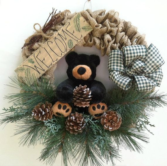 Burlap Wreath, Teddy Bear, Welcome Wreath, Christmas Wreath, Black Bear, Lodge, Wreath, Cabin, Pine Cone, Welcome Sign, Rustic Wreath