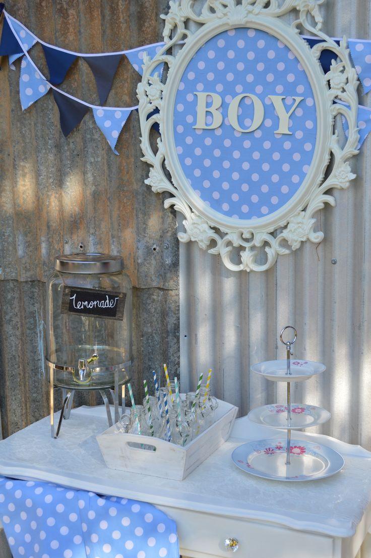POLKA DOT BLUE Boy - Drink & Sweets Table #queenstvintage #rusticprops #rusticweddings #recycledtimber #prophiresydney #vintageideas #rusticsigns #rusticdrinkstations #rusticsweettables #vintageweddings #rusticwishingwells #timberweddingsigns #drinkstations #photobooth #tablecentrepieces #caketables