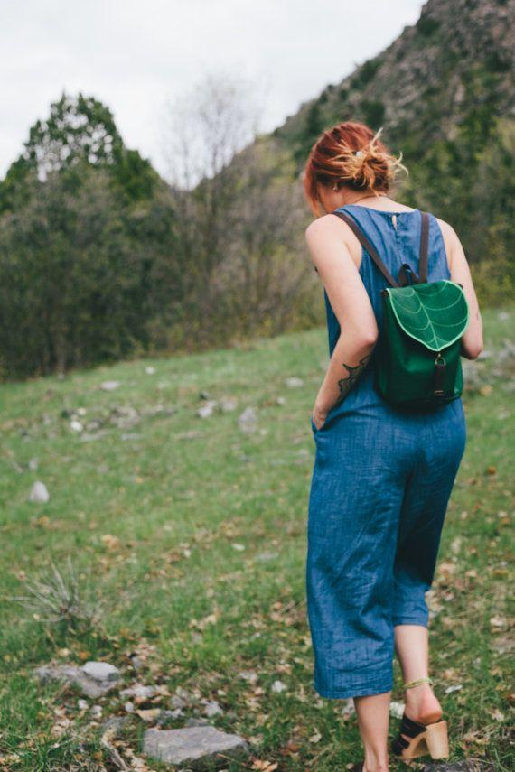 Dark Green Leaf Mini Backpack, Women's Rucksack, Boho Festival Backpack, Waterproof, Toddler Backpack, Small Rucksack,