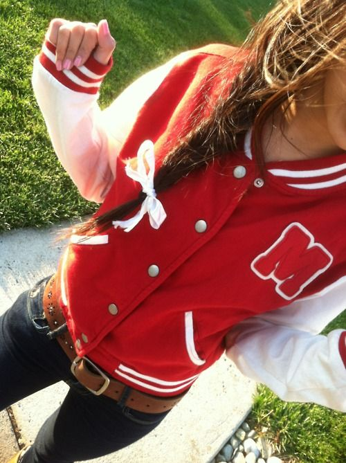 CUTE <3: Clothing 3, White Bows, Varsity Jackets, ஐGorgeous Hairstylesஐ, Zayn Malik, Outfits With Letterman Jackets, Messy Braids, Cute Braids, Belts