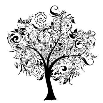 arbre tatouage: Arbres décoratifs, illustration vectorielle Illustration