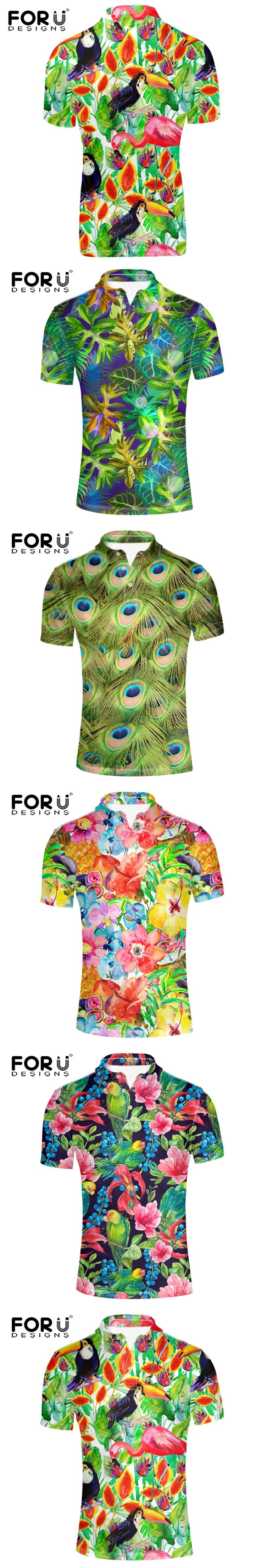 FORUDESIGNS Mens Polo Shirt Brands high quality short sleeves toucan bird painting printing Casual POLO shirts male summer 2017