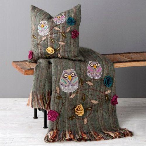 Owl Throw And Pillow