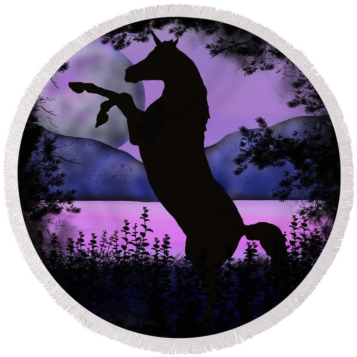 Night of the Unicorn round beach towel by Tracey Lee Art Designs