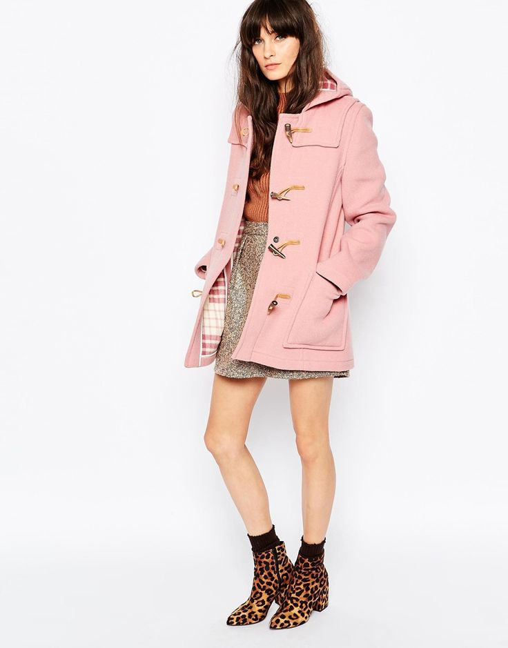 Image 4 ofGloverall Fitted Duffle Coat In Pale Pink