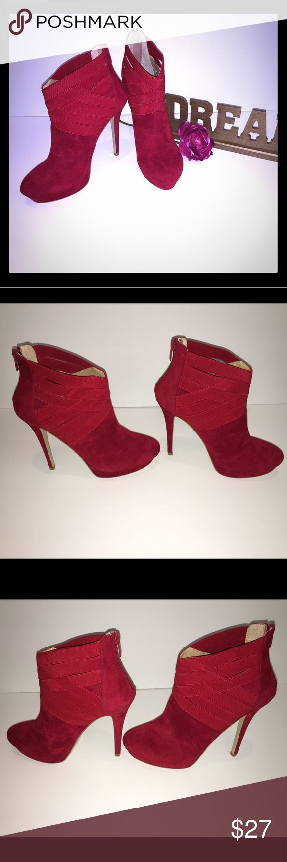 Colin Stuart Red Platform Suede Heels Booties These Colin Stuart Red Platform Faux  Heel Booties are absolutely beautiful. The zipper back with the stretchable adornment makes these high heel shoes easy to slide on.   Size 8.5 No box From a pet free smoke free home Colin Stuart Shoes Heels