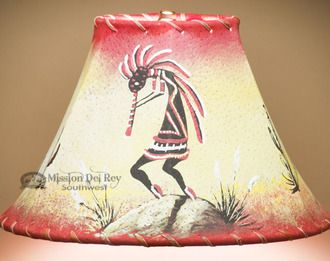 "Southwestern Painted Leather Lamp Shade 12"""" -Kokopelli (PL142)"
