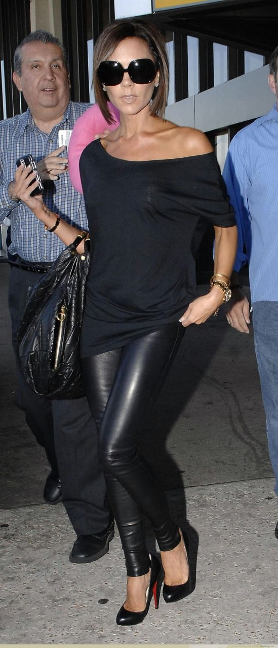 Victoria Beckham  Black Leather Pants and Off the Shoulder Black Top
