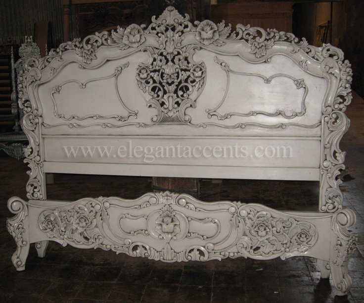 Carved Mahogany Rococo Bed King Size Antique White Finish
