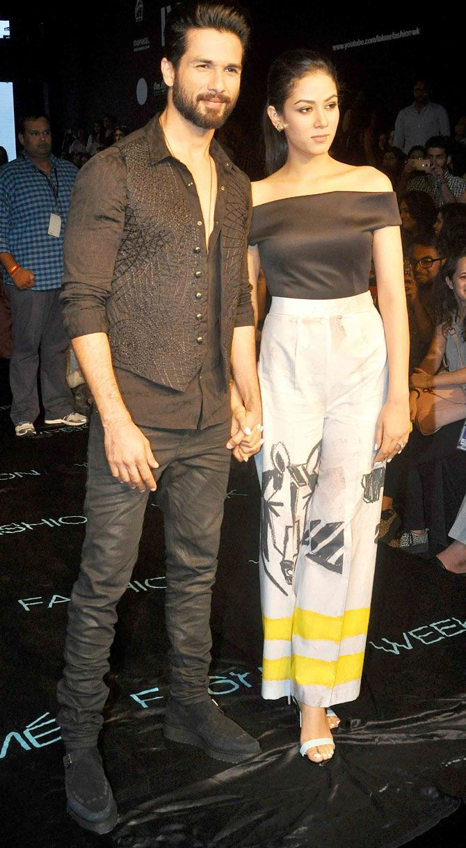 Shahid Kapoor and Mira Rajput walk the ramp hand-in-hand at Lakme Fashion Week Winter/Festive 2015. #Bollywood #LFW2015 #Fashion #Style #Beauty #Handsome #Hot