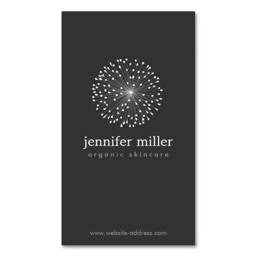 DANDELION STARBURST LOGO II on DARK GRAY Business Cards. This great business card design is available for customization. All text style, colors, sizes can be modified to fit your needs. Just click the image to learn more!