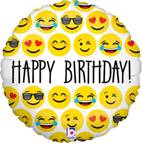 1-18 Happy Birthday Emoji Balloon Mylar by sweetcreationsparty