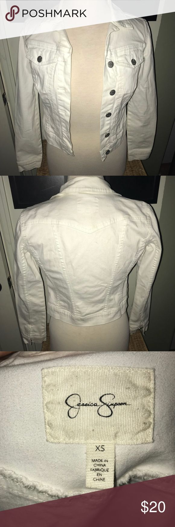 Ladies Jessica Simpson white Jean Jacket size XS Ladies or teen Jessica Simpson white Jean Jacket size XS  For teens might fit small/medium depending on fit Jessica Simpson Jackets & Coats Jean Jackets