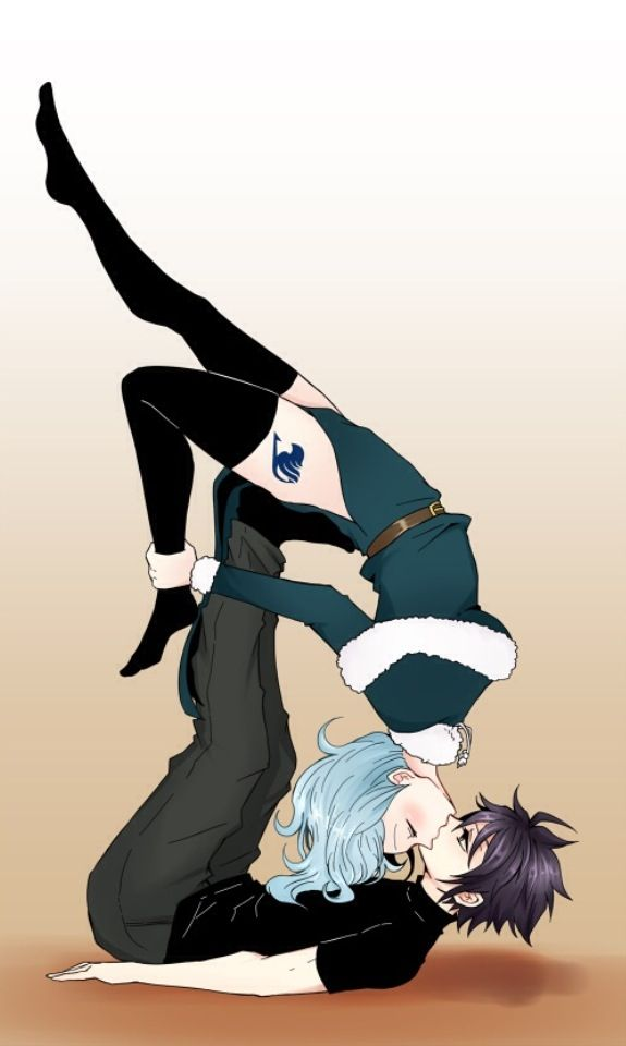 Another cute Gruvia kiss pose pic <3 im wondering if this is possible and if so awkward or romantic.