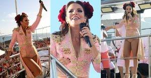 Ivete Sangalo vira de toureira em sua 1ª apresentação no carnaval 2013 - Com rosas vermelhas no cabelo e pernas à mostra, Ivete Sangalo comanda o Bloco  Cerveja e Cia. no circuito Dodô, em Salvador, vestida de Toureira e comemora 20 anos de carreira