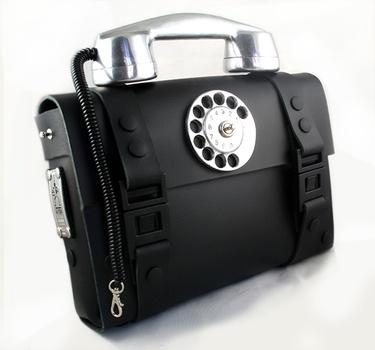 Hitek Designs black leather telephone bag