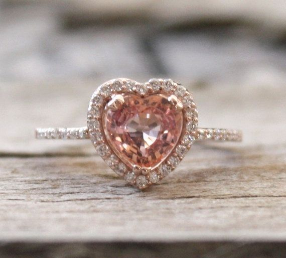 1.28 Ct Padparadscha Heart Sapphire Halo Ring in 14K by Studio1040, $1400.00  (Only pinning because it reminds me of a modern day version of Serena's ring from Darien <3)