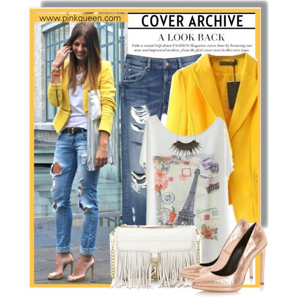 Yellow Blazer - Pinkqueen.com by anne-mclayne on Polyvore featuring Zara, Dune, Rebecca Minkoff, vintage, GetTheLook, StreetStyle, yellow, rippedjeans and PinkQueen