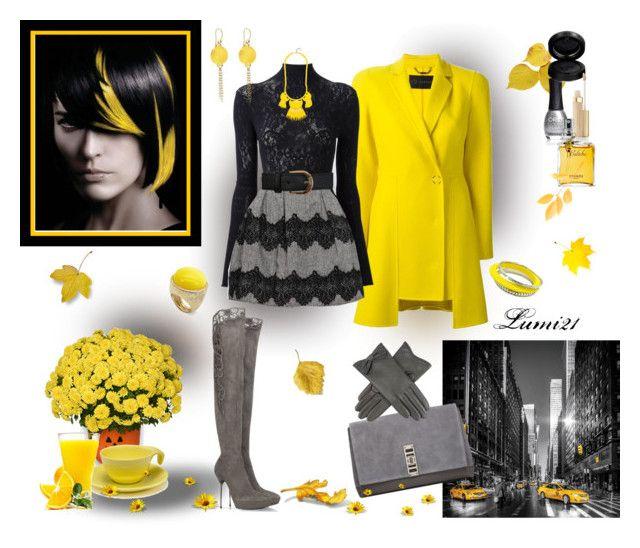 yellow by lumi-21 on Polyvore featuring HIGH, Versace, Loriblu, Proenza Schouler, Gurhan, Ariella Collection, BaubleBar, Dents, Miss Selfridge and GAB