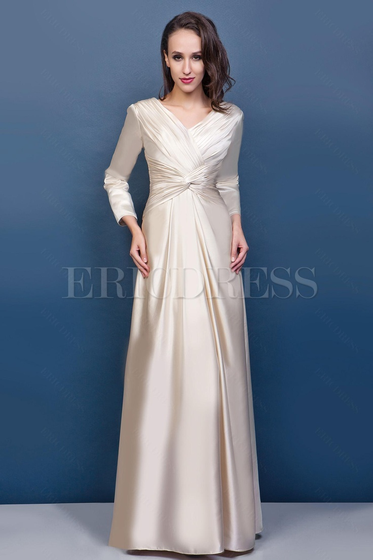 Gorgeous Sheath Column V Neck Long Sleeve Wedding Dresses : Sheath column v neck sleeves s long sleeve wedding gowns