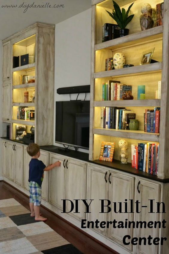 How to build your own built-in entertainment center with lots of storage and bookshelves.