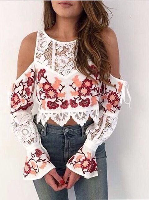 Embroidery lace long-sleeved shirt