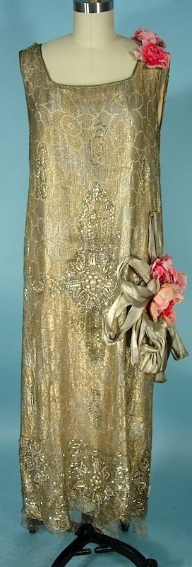 c. early 1920's RARE NUMBERED HOUSE OF REVILLE, Paris, London Flapper Dress of Gold Lame Lace and Beaded with Faux Pearls, Beads and Rhinestones with Huge Original Silk Flowers and Gold Lame Ribbons.  London Court Dressmaker for Queen Mary.