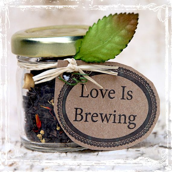 Love is Brewing  Tea Wedding Favors 20 by sparkleandposy on Etsy, $59.00  This could be a cute favours eco idea - if it was a plant :)