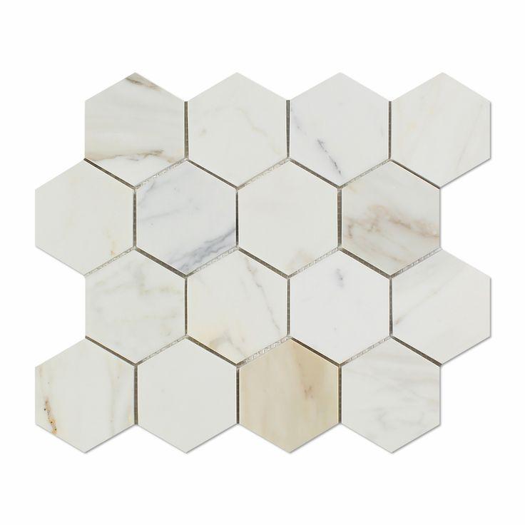 "Buy Calacatta Gold Marble Polished 3"" Hexagon Mosaic Tile Sample Product Attributes - Item: Premium (SELECT) Quality 3"" Italian Calacatta Gold Marble HEXAGON POLISHED MOSAIC TILE (ON-MESH) - Dimension"