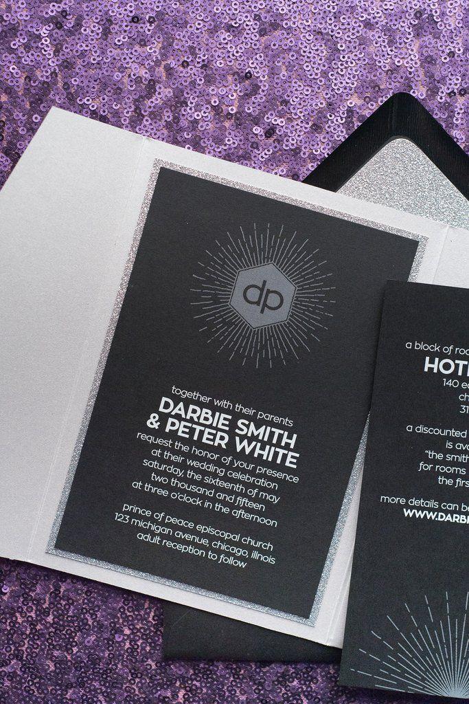 DARBIE Suite Pocket Folder Package. Silver Wedding InvitationsSilver  WeddingsPaper ProductsWedding TrendsBlack TieNew Years EveLetterpressCalligraphy  ...