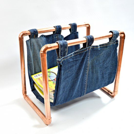 Make this on trend copper magazine rack with some copper piping and pair of jeans.