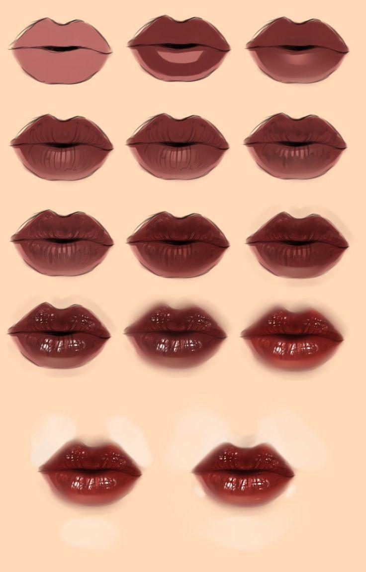 입술 그리기 튜토리얼 / 매핑 참고 / 캐릭터 자료 : 네이버 블로그