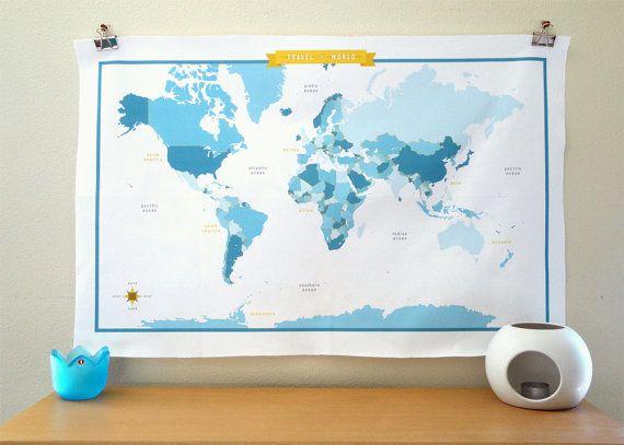 World Map Fabric - modern design print $70 Etsy